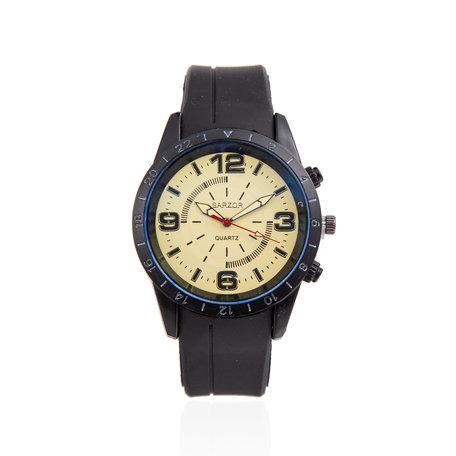 Navy Horloge - Gele Kast - Rubberen Band