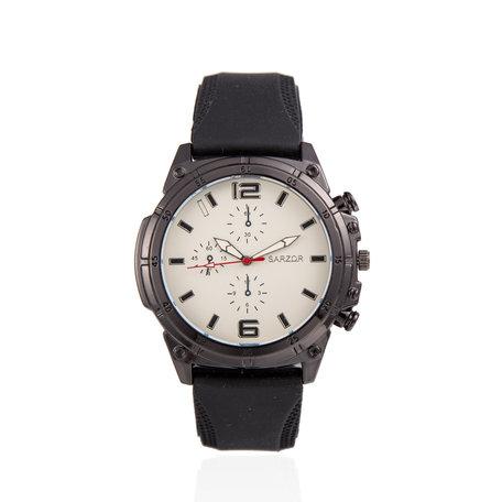 Navy Horloge - Witte Kast - Rubberen Band