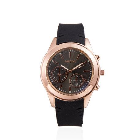 Navy Horloge - Zwart met Goud Kast - Rubberen Band