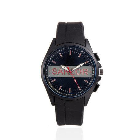 Navy Horloge - Goude Kast - Rubberen Band