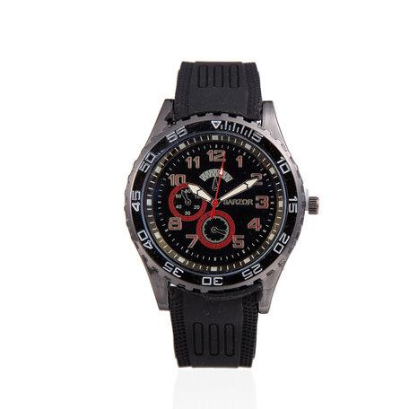 Navy Horloge - Zwart met Rood Kast - Rubberen Band