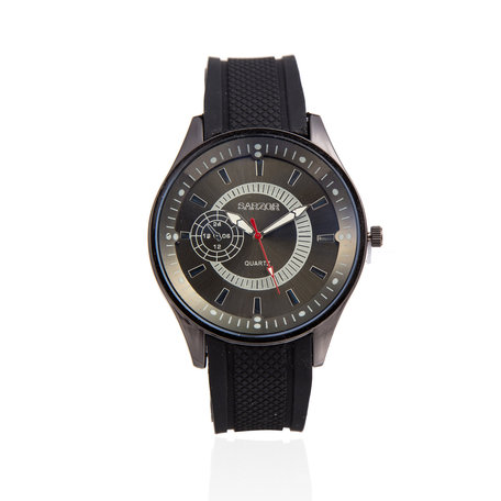 Navy Horloge - Groene Kast - Rubberen Band