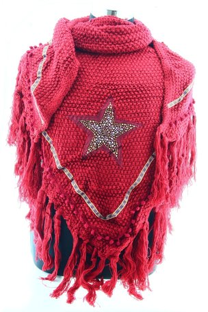 Donker Rood poncho/omslagdoek met ster 200x90 cm