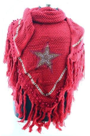 Donker Rood poncho/omslagdoek met ster 200x75 cm
