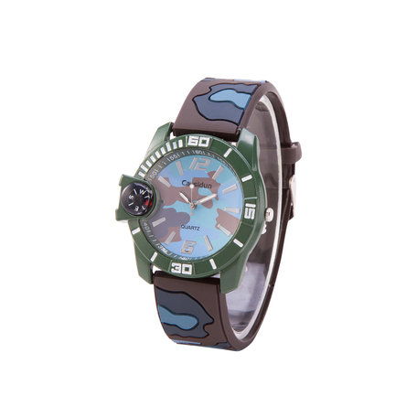 Camouflage Horloge - Silicone band - Blauw & Groen