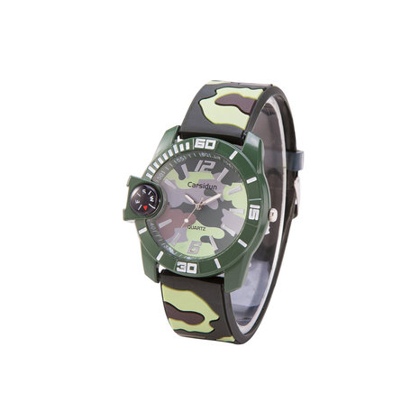 Camouflage Horloge - Silicone band - Groen & Bruin