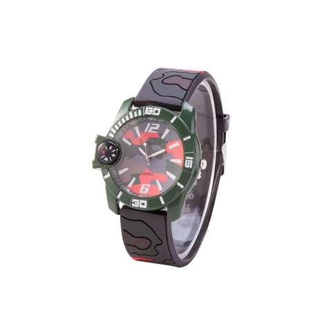 Camouflage Horloge - Silicone Band - Rood & Bruin