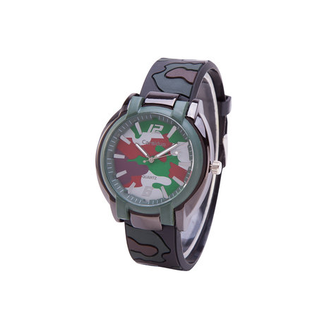 Camouflage Horloge - Silicone Band - Bruin & Groen