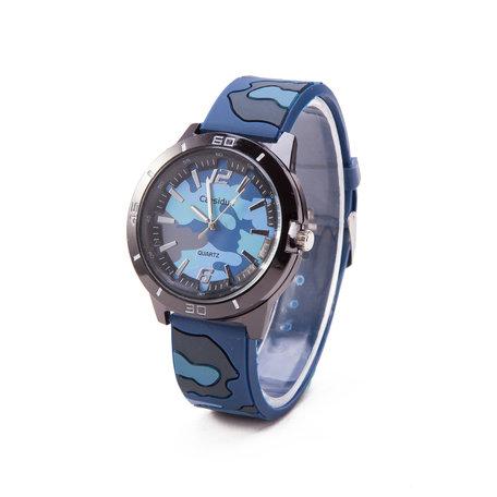 Camouflage Horloge - Silicone Band - Blauw & Zwart