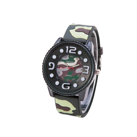 Camouflage Horloge - Silicone Band - Groen