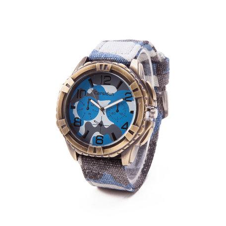 Exclusieve Jean Horloge - Blauw & Wit