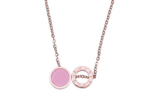 RVS Ketting met kristal steen - Rosé