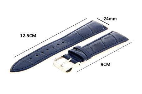 Horlogeband Leer 24mm Blauw