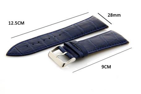 Horlogeband Leer 28mm Blauw