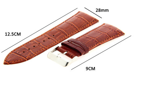 Horlogeband Leer 28mm Licht Bruin