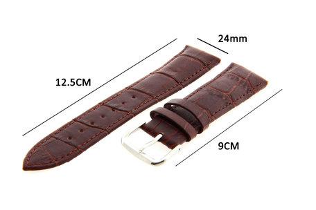 Horlogeband Leer 24mm Donker Bruin