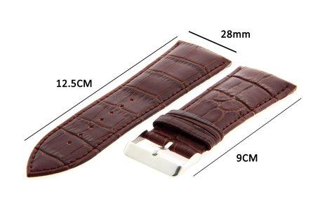 Horlogeband Leer 28mm Donker Bruin