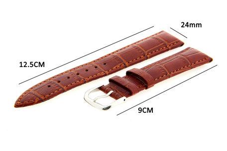 Horlogeband Leer 24mm Licht Bruin