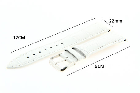 Horlogeband Leer 22mm Wit