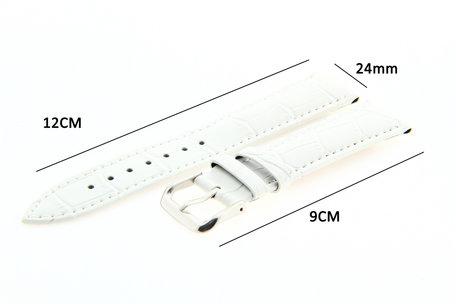 Horlogeband Leer 24mm Wit