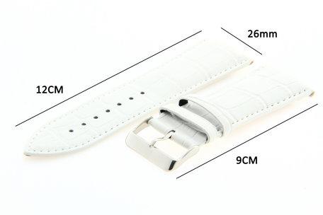 Horlogeband Leer 26mm Wit