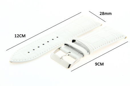 Horlogeband Leer 28mm Wit