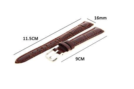 Horlogeband Leer 16mm Donker Bruin