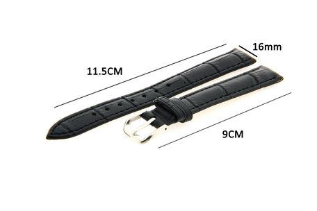 Horlogeband Leer 16mm Zwart