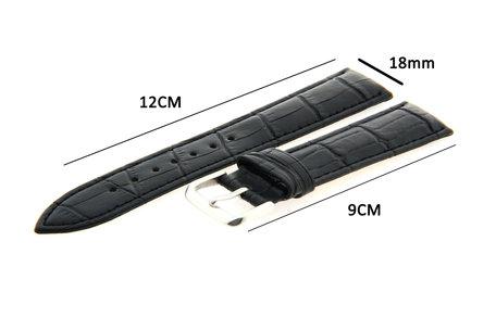 Horlogeband Leer 18mm Zwart