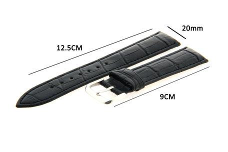 Horlogeband Leer 20mm Zwart