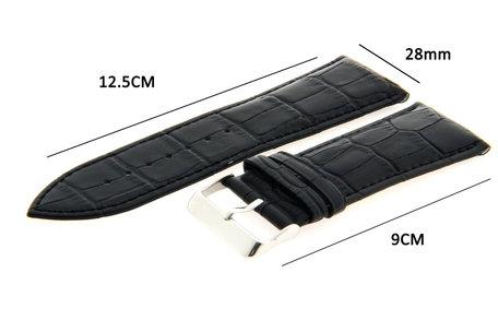 Horlogeband Leer 28mm Zwart