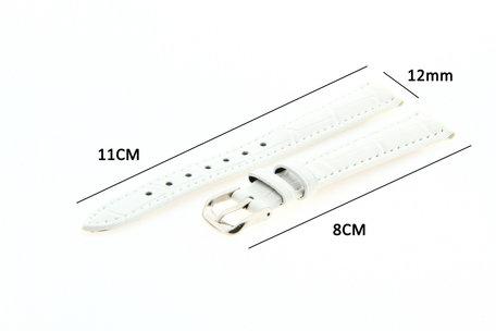 Horlogeband Leer 12mm Wit