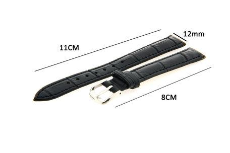 Horlogeband Leer 12mm Zwart