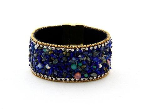 Ibiza Armband - Met strass kristallen en steentjes - Blauw