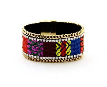 Ibiza Armband - Met Schackels en wollen patronen - Multicolor