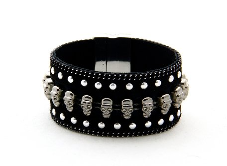 Ibiza Armband Skull Design - Kunst Leader - Zwart