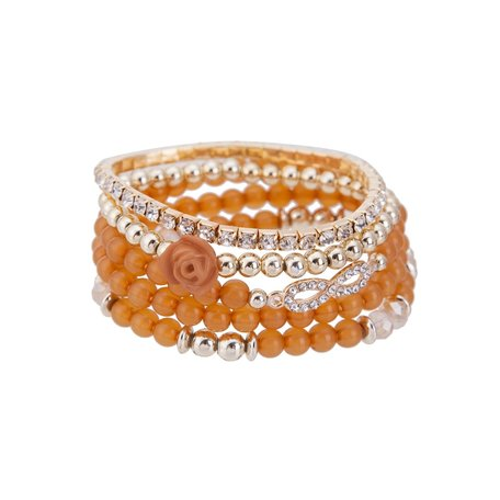 Kralen Ibiza Armband - infinity Symbool en Rozen - Oranje & Wit