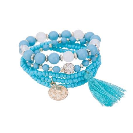 Kralen Ibiza Armband - Met Munt Hanger & Tassel - Blauw & Wit