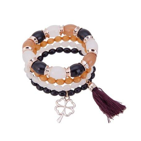 Kralen Ibiza Armband - Met Hanger & Tassels - Wit Zwart & Oranje
