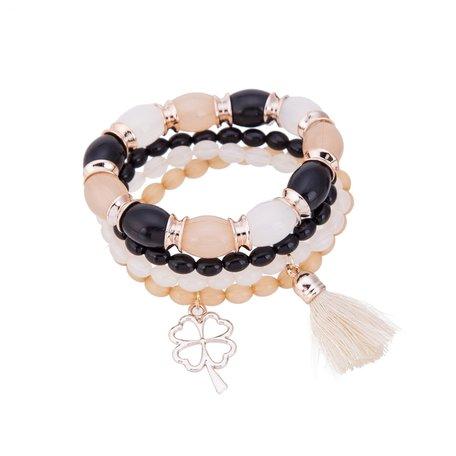 Kralen Ibiza Armband - Met Hanger & Tassel - Zwart & Wit