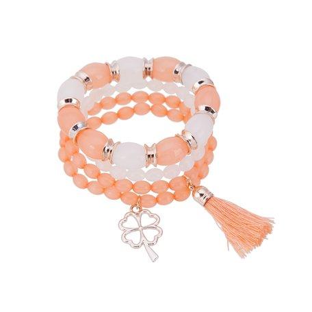 Kralen Ibiza Armband - Met Hanger & Tassel - Oranje & Wit