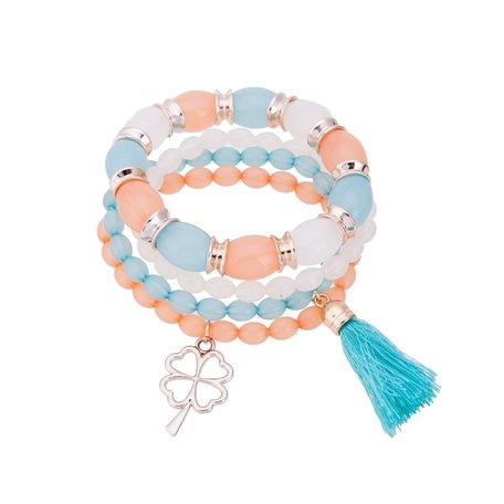 Kralen Ibiza Armband - Met Bloem Hanger & Tassel - Blauw