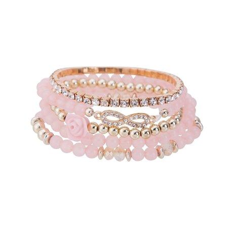 Kralen Ibiza Armband - Met Infinity Symbool - Pink