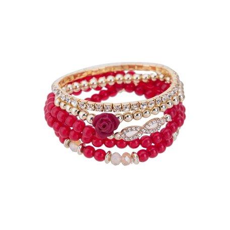 Kralen Ibiza Armband - Infinity Symbool met Roos - Rood & Wit