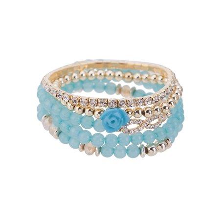 Kralen Ibiza Armband - Met Infinity Symbool & Roos - Blauw