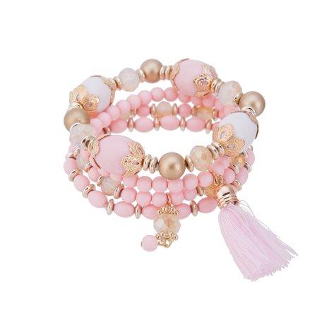 Kralen Ibiza Armband - Met Hangers & Tassel - Roze