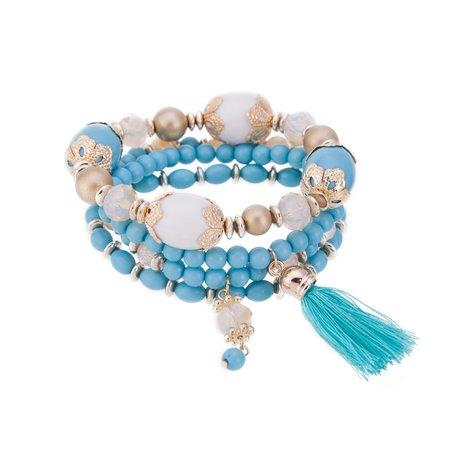 Kralen Ibiza Armband - Met Tassels & Hanger - Blauw & Goud
