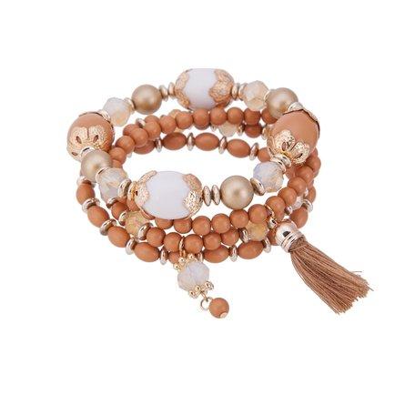 Kralen Ibiza Armband - Met Tassels & Hanger - Oranje & Wit