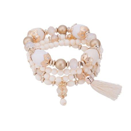 Kralen Ibiza Armband - Met Hanger & Tassel - Wit