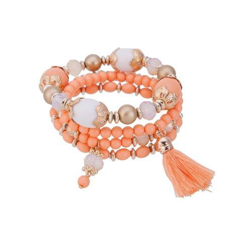 Kralen Ibiza Armband - Met Tassel - Wit Oranje & Goud
